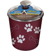 Merlot - Bella Canister 64oz Loving Pets Products-Bella Canister: Merlot. The perfect tool to store your pet's treats! Veterinarian recommended and stainless steel interior helps resist bacteria. The removable rubber base helps prevent both spills and noise. Dishwasher safe and comes in a variety of colors to match any decor. This package contains one 6- 1/4x6x6 inch metal Bella Canister with plastic lid. Made in USA.