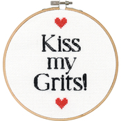 """6"""" Round 14 Count - Say It! Grits Counted Cross Stitch Kit"""