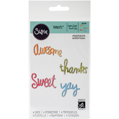 Circle Words-Yay, Thanks, Sweet, Awesome - Sizzix Thinlits Dies 4/Pkg