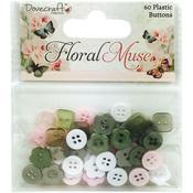 Dovecraft Floral Muse Plastic Buttons 60/Pkg