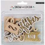 Snow & Cocoa Wood Die-Cut Phrases - Crate Paper