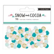 Snow & Cocoa Pom Poms - Crate Paper