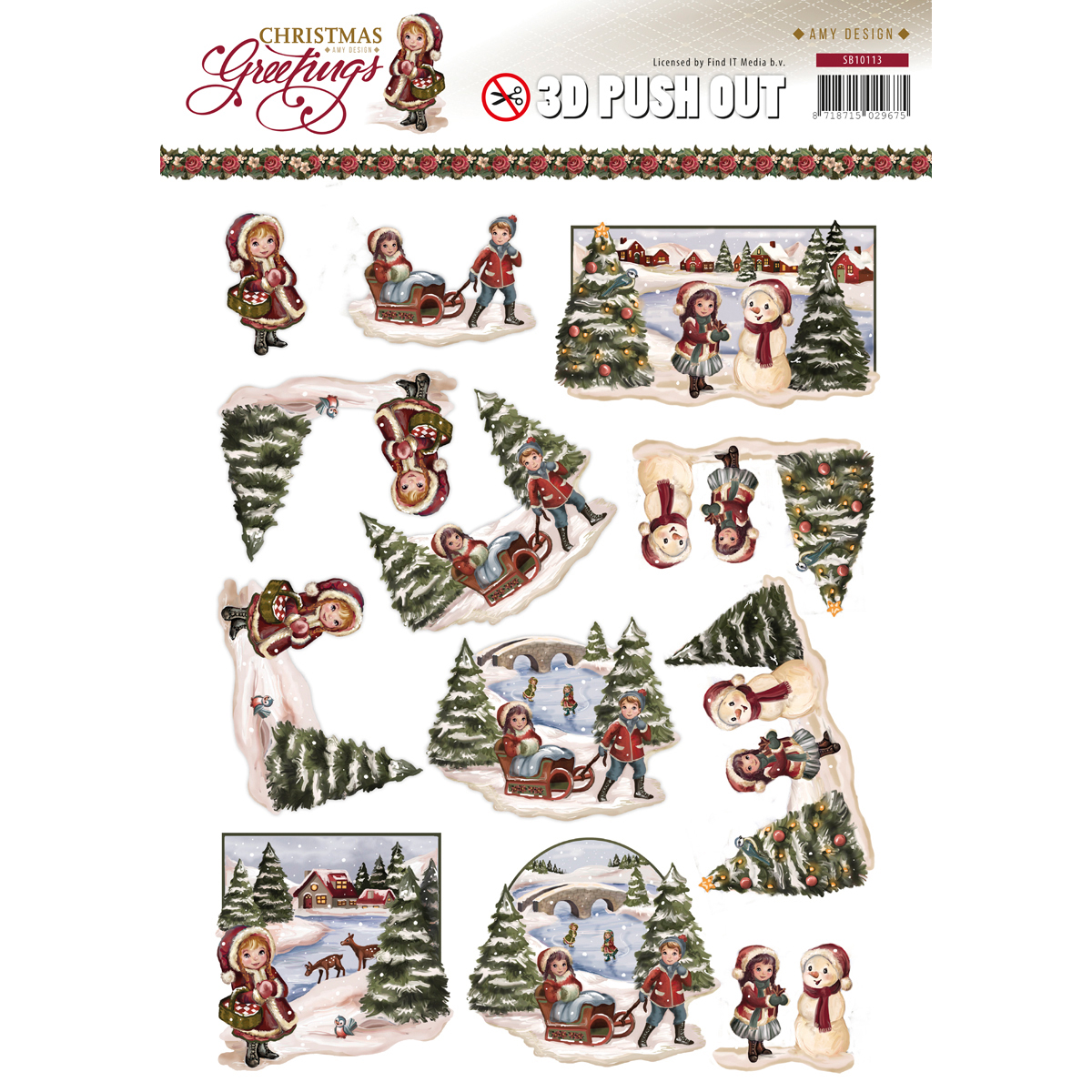 Christmas Landscape - Find It Trading Amy Design Punchout Sheet