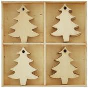 Christmas Trees Wood Flourish Pack 20/Pkg