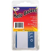 Blue/White - Hello My name is... Badges 25/Pkg