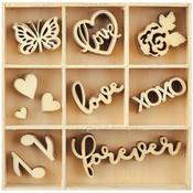 Love Mini Wooden Flourishes, 55 pkg - KaiserCraft