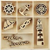 Nautical Mini Wooden Flourishes, 55 pkg - KaiserCraft