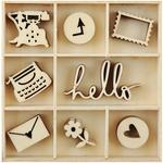 Hello Mini Wooden Flourishes, 55 pkg - KaiserCraft