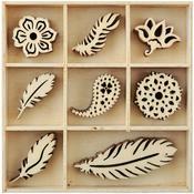 Feather Mini Wooden Flourishes, 55 pkg - KaiserCraft