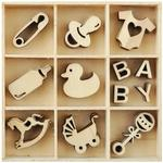 Baby Mini Wooden Flourishes, 55 pkg - KaiserCraft
