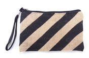 Burlap Clutch - Black Stripes