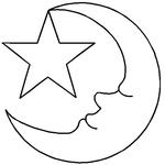 """3-1/2"""" Moon & Star - Quilt Stencils By Hari Walner"""