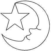 "3-1/2"" Moon & Star - Quilt Stencils By Hari Walner"