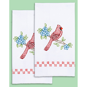 "Cardinal - Stamped White Decorative Hand Towel Pair 17""X28"""