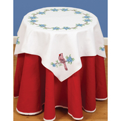 """Cardinal - Stamped White Perle Edge Table Topper 35""""X35"""""""