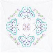 """Butterflies - Stamped White Quilt Blocks 18""""X18"""" 6/Pkg"""