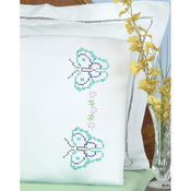 Butterflies - Stamped Pillowcases W/White Perle Edge 2/Pkg