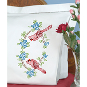 Cardinal  - Stamped Pillowcases W/White Perle Edge 2/Pkg