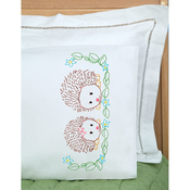 Hedgehogs - Children's Stamped Pillowcase W/White Perle Edge 1/Pkg
