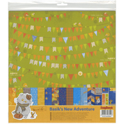 "6 Double-Sided & 3 Single Sided - ScrapBerry's Basik's New Adventure Paper Pack 12""X12"" 9/Pkg"