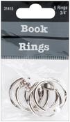 "Silver - Book Rings .75"" 5/Pkg"