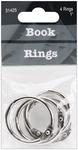 "Silver - Book Rings 1"" 4/Pkg"