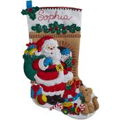 "18"" Long - Santa's Visit Stocking Felt Applique Kit"