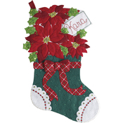"18"" Long - Christmas Poinsettia Stocking Felt Applique Kit"