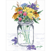 """8""""X10"""" 14 Count - Wildflower Jar Counted Cross Stitch Kit"""