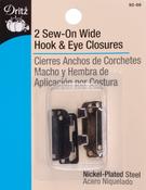 """Black & Nickel - Sew-On Wide Hooks & Eyes 1"""" 2/Pkg"""