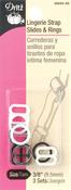 """3 Sets - Clear, Black & White - Lingerie Strap Slides & Rings 3/8"""""""
