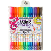 Assorted Colors - Tulip Dual Tip Fabric Marker Set 14pc
