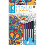 """Mandala Collage - Jigsaw Adult Coloring Puzzle W/Markers 500 Pieces 14""""x19"""""""