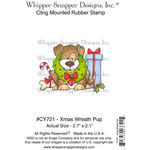 "Christmas Wreath Pup - Whipper Snapper Cling Stamp 4""X6"""