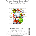 """Santa & Tree - Whipper Snapper Cling Stamp 4""""X6"""""""