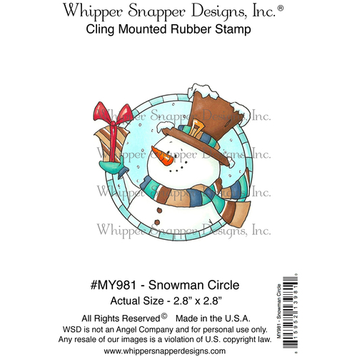 """Snowman Circle - Whipper Snapper Cling Stamp 4""""X6"""""""