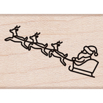 "Santa Sleigh - Hero Arts Mounted Rubber Stamp 1.25""X1"""