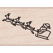 "Santa Sleigh - Hero Arts Mounted Rubber Stamp 1.25""X1"""