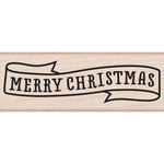 "Merry Christmas Banner - Hero Arts Mounted Rubber Stamp 2.75""X1"""
