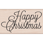 """Happy Christmas Script - Hero Arts Mounted Rubber Stamp 3.75""""X1.25"""""""