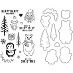 Holiday Animals - Hero Arts Clear Stamp & Die Combo