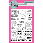 """Happy Mail - Pink & Main Clear Stamps 4""""X6"""""""