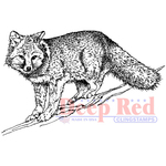 """Winter Fox - Deep Red Cling Stamp 3.25""""X2"""""""