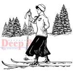 "Vintage Skier - Deep Red Cling Stamp 3.25""X3"""