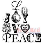 """Joy, Peace & Love - Deep Red Cling Stamp 3""""X3"""""""