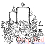 """Poinsettia Candles - Deep Red Cling Stamp 3""""X3"""""""