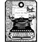 "Chunky Vintage Typewriter Tag - Crafty Individuals Unmounted Rubber Stamp 4.75""X7"" Pkg"