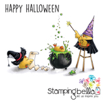 """Wizard, Witch And The Cauldron Chicks - Stamping Bella Cling Stamp 6.5""""X4.5"""""""