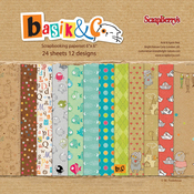 "12 Single-Sided Designs/2 Each - ScrapBerry's Basik & Ko Paper Pack 6""X6"" 24/Pkg"