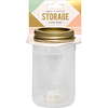 White W/Gold Lid - Wire System Plastic Mason Jar